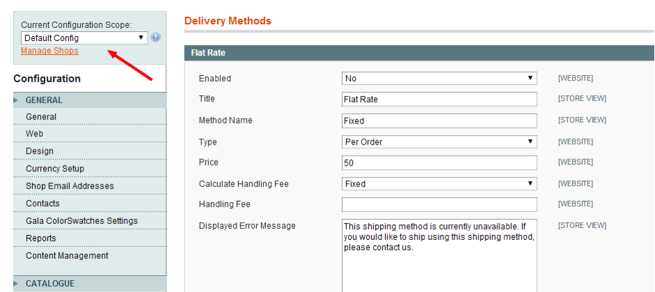Figure one - Set up shipping in magento
